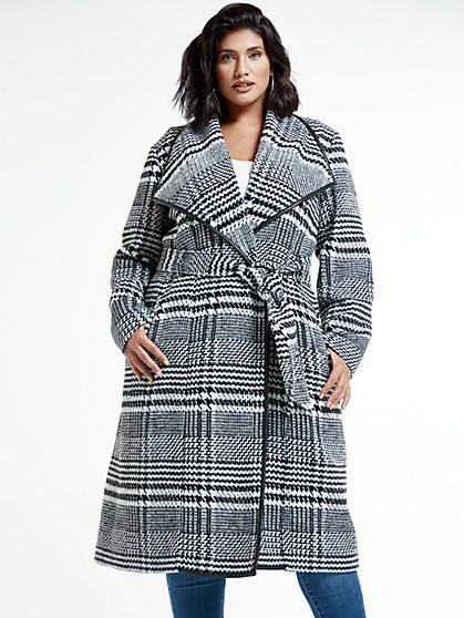 Plus Size Brittany Plaid Tie Belt Coat - Fashion To Figure