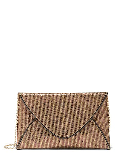 Plus Size Bronze Glitter Clutch - Fashion To Figure