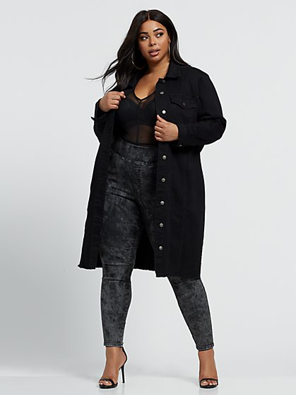 Plus Size Brooke Black Long Trucker Jacket - Fashion To Figure