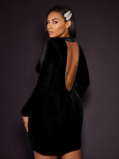 Plus Size Brooke Black Velvet Mini Dress - Gabrielle Union x FTF - Fashion To Figure