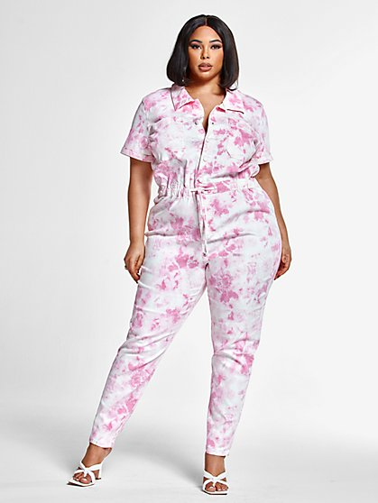 Plus Size Brooke Tie Dye Jumpsuit - Fashion To Figure