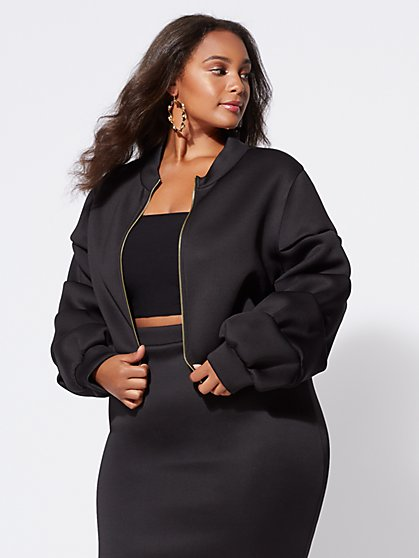 Plus Size Brooklyn Drama Bomber Jacket - Fashion To Figure