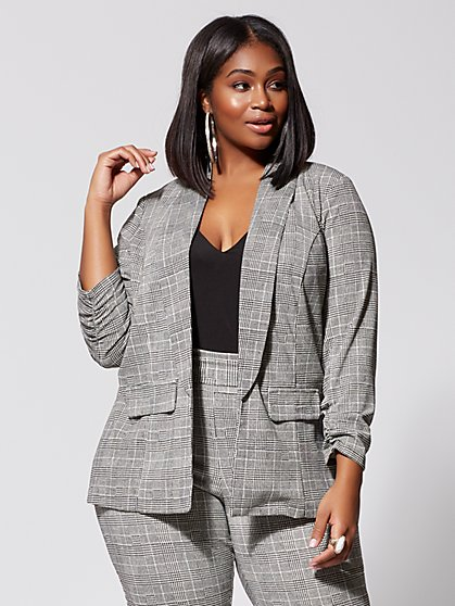 Plus Size Brooklyn Plaid Boyfriend Blazer - Fashion To Figure