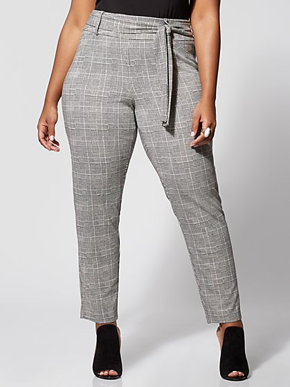 Plus Size Brooklyn Plaid Tie-Waist Skinny Pants - Fashion To Figure