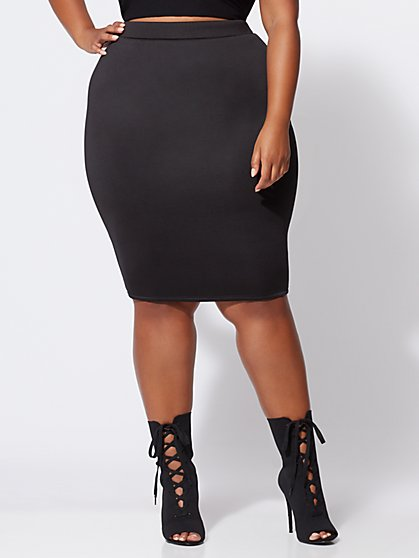 Plus Size Brooklyn Scuba Midi Skirt - Fashion To Figure