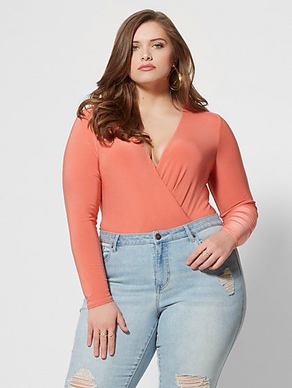 Plus Size Brooks Wrap-Front Bodysuit - Fashion To Figure