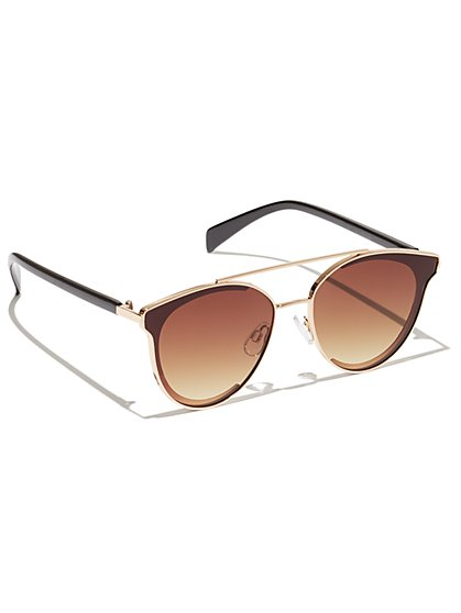 Plus Size Brow Bar Round Sunglasses - Fashion To Figure