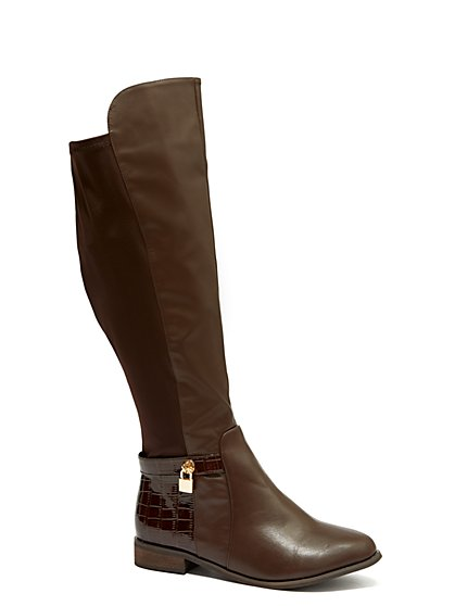 Plus Size Brown Stretch Riding Boots - Wide Width - Fashion To Figure