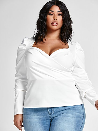 Plus Size Brylie Puff Shoulder Top - Fashion To Figure