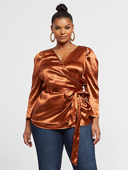Plus Size Bryony Satin Wrap Blouse - Fashion To Figure