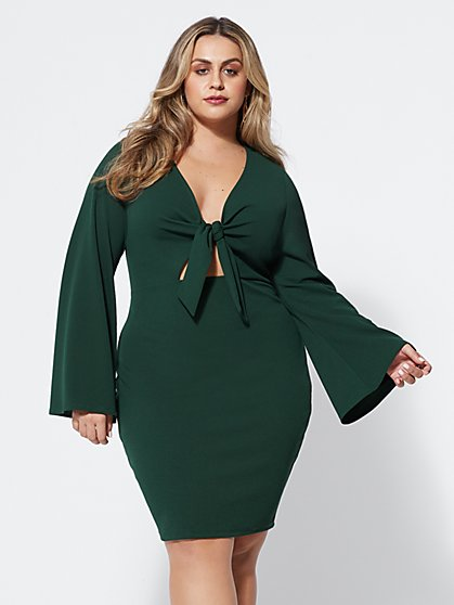 Plus Size Bryttani Tie-Front Dress - Fashion To Figure