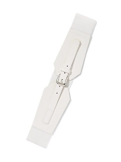 Plus Size Buckle White Corset Belt - Fashion To Figure