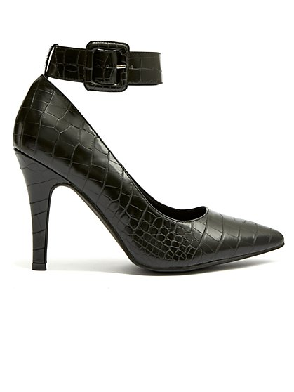 Plus Size Buckled Down - Black Faux-Croc Heel - Fashion To Figure