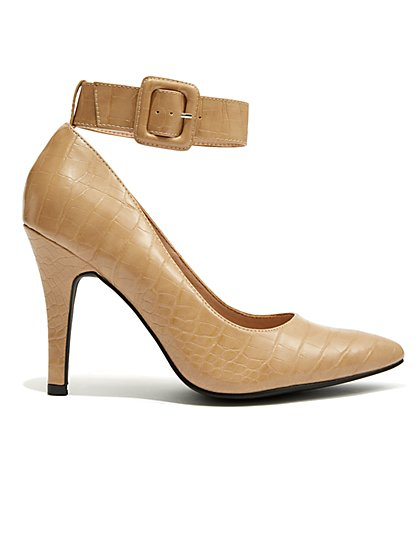 Plus Size Buckled Down - Nude Faux-Croc Heel - Fashion To Figure