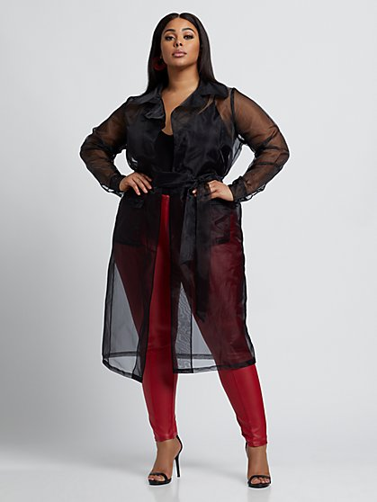 Plus Size Buffy Sheer Trench Coat - Fashion To Figure