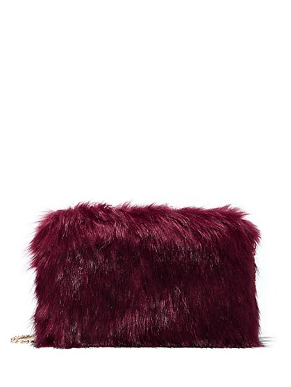Plus Size Burgundy Faux-Fur Clutch - Fashion To Figure