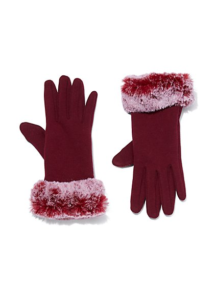 Plus Size Burgundy Faux-Fur Lined Gloves - Fashion To Figure