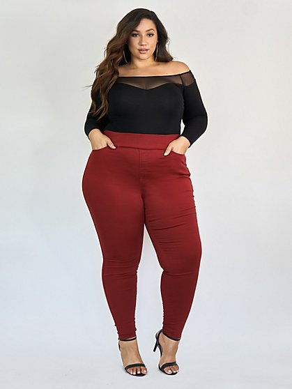 Plus Size Burgundy High-Rise Jeggings - Fashion To Figure