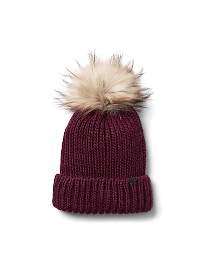Plus Size Burgundy Pom Pom Beanie - Fashion To Figure