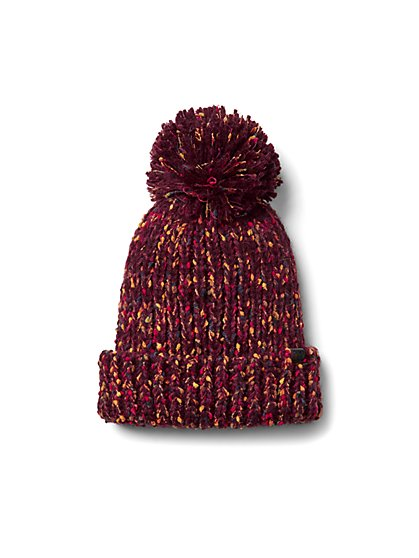 Plus Size Burgundy Pom Pom Confetti Beanie - Fashion To Figure