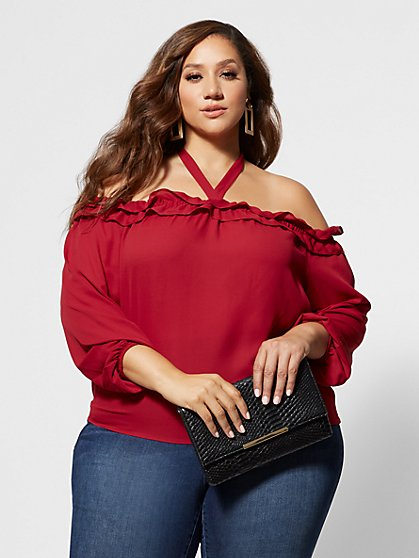 Plus Size Caitlin Halter Off Shoulder Blouse - Fashion To Figure