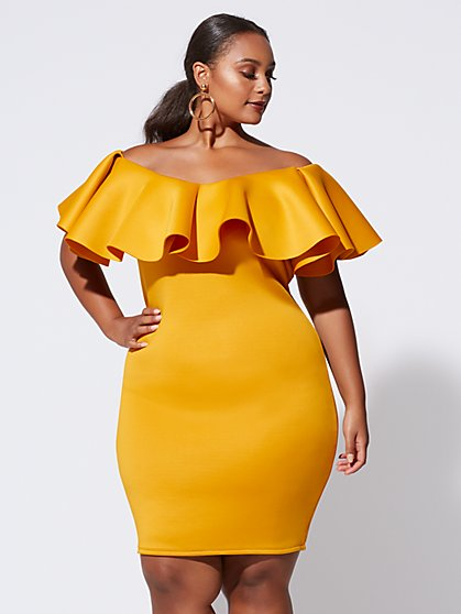 Plus Size Cali Drama Ruffle Bodycon Dress - Fashion To Figure