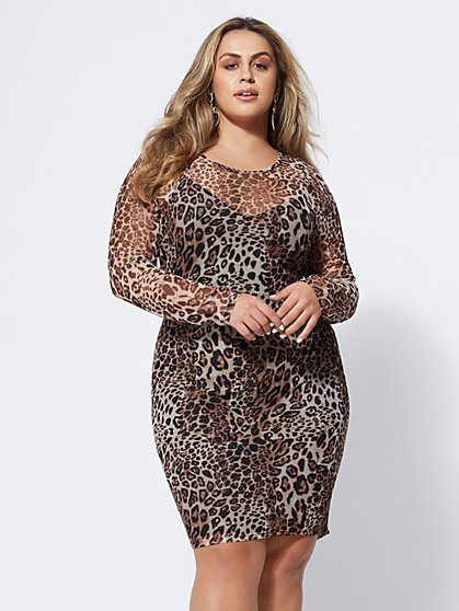 Plus Size Calico Mesh Bodycon Dress - Fashion To Figure