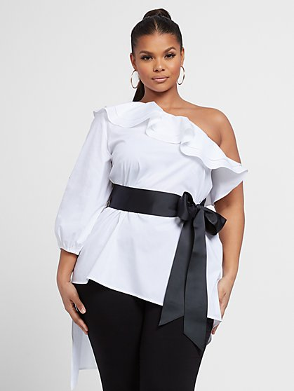 Plus Size Callie One Shoulder High Low Top - Fashion To Figure