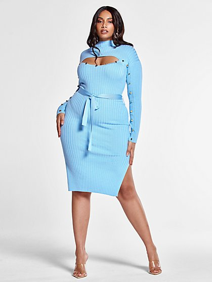 Plus Size Callie Tie Waist Sweater Dress with Cutout Detail - Fashion To Figure