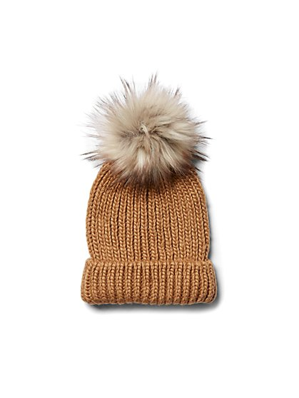 Plus Size Camel Pom Pom Beanie - Fashion To Figure