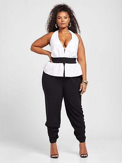 Plus Size Cameron Colorblock Halter Jumpsuit - Gabrielle Union x FTF - Fashion To Figure