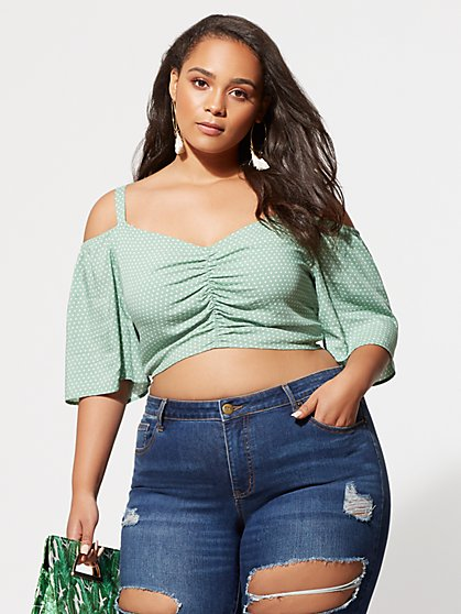 Plus Size Cami Ruched Crop Top - Fashion To Figure
