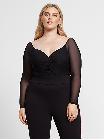 Plus Size Camila Off Shoulder Ruched Mesh Top - Fashion To Figure