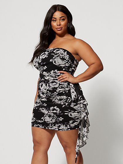 Plus Size Camilla Strapless Floral Dress - Fashion To Figure
