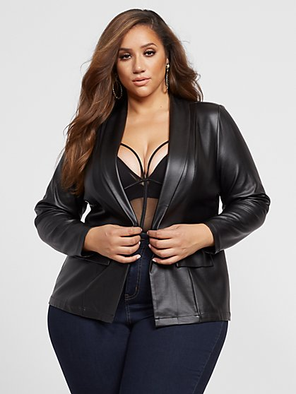 Plus Size Camille Faux-Leather Blazer - Fashion To Figure