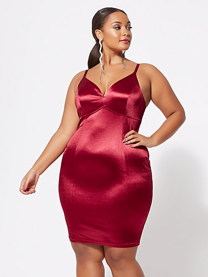 Plus Size Camille Satin Bodycon Dress - Fashion To Figure