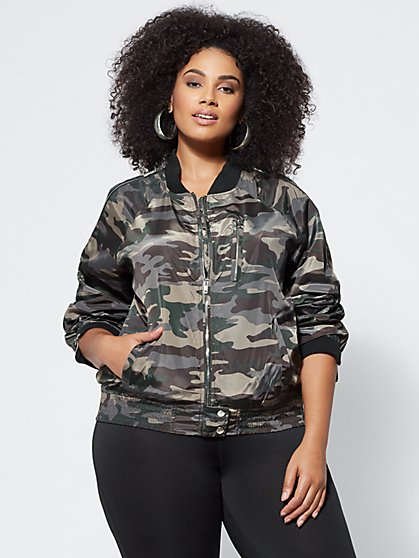 Plus Size Camo Bomber Jacket - Fashion To Figure