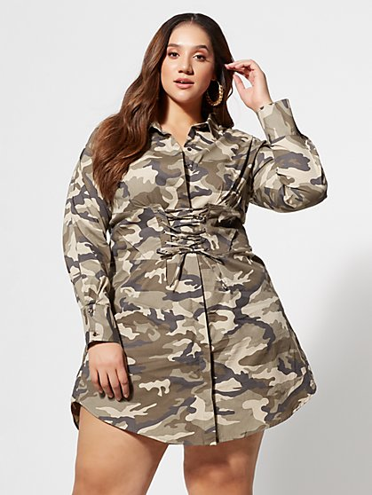 Plus Size Camo Girl Boss Corset Shirt Dress - Fashion To Figure