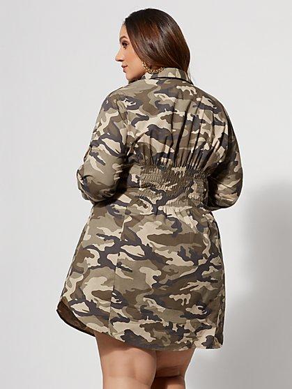 2df3e95eb269a ... Plus Size Camo Girl Boss Corset Shirt Dress - Fashion To Figure ...