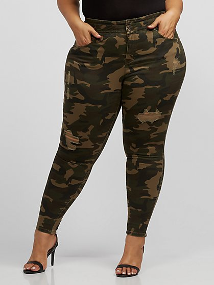 Plus Size Camo High-Rise Skinny Jeans - Fashion To Figure