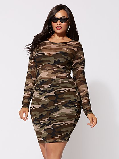 Plus Size Camo Mesh Bodycon Dress - Fashion To Figure