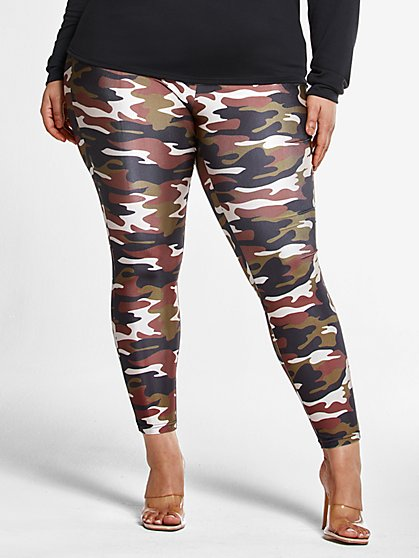 Plus Size Camo Print High Rise Leggings - Fashion To Figure