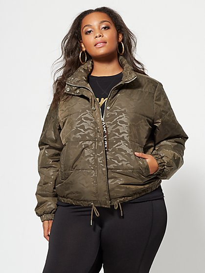 Plus Size Camo Puffer Jacket - Fashion To Figure