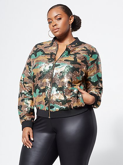 Plus Size Camo Sequin Bomber Jacket - Fashion To Figure