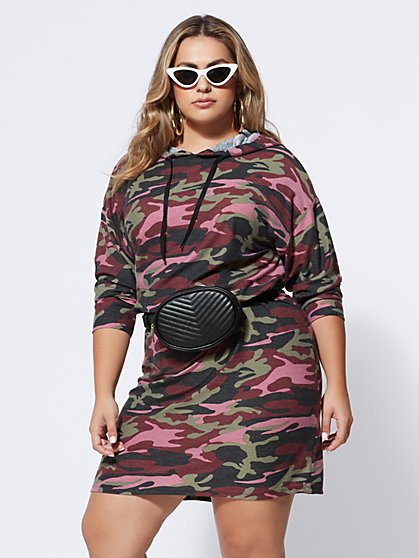 Plus Size Camo Sweatshirt Dress - Fashion To Figure