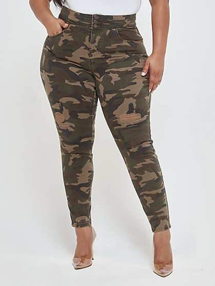 Plus Size Camo Triple Stack High-Waist Jeans - Fashion To Figure