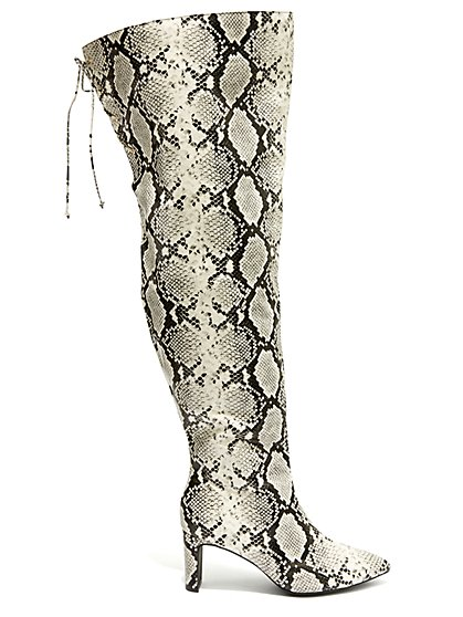 Plus Size Can't Tell Me Nothin - Faux-Snake Thigh High Boots - Fashion To Figure