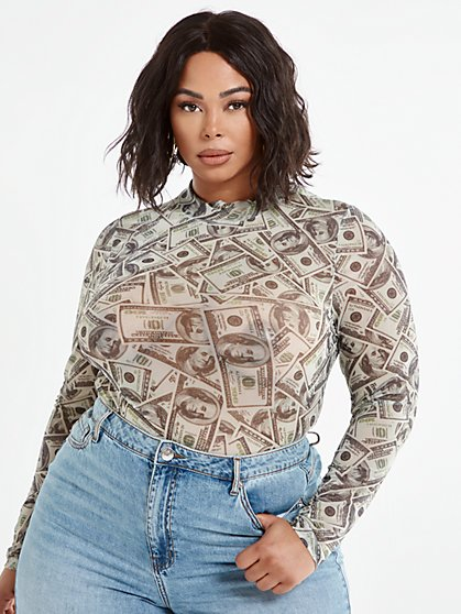 Plus Size Cari Money Print Mesh Top - Fashion To Figure