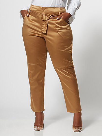 Plus Size Carine Satin Belted Pant - Fashion To Figure