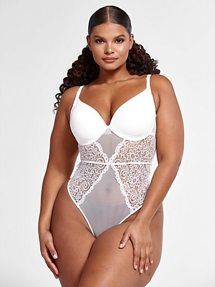Plus Size Carla Lace and Mesh Bodysuit - Fashion To Figure